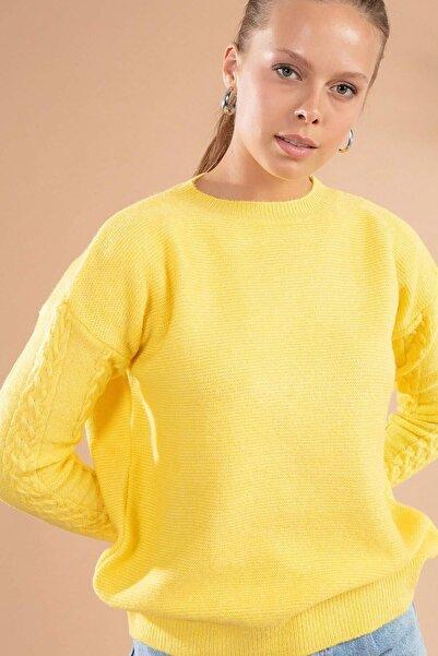 Y-London Kadın Sarı Triko Kazak Y19W109-80115