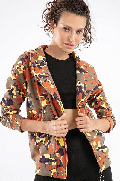 Y-London Kadın Kamuflaj 3 İplik Çapraz Fermuarlı Ceket 10402 Y19W126-10402