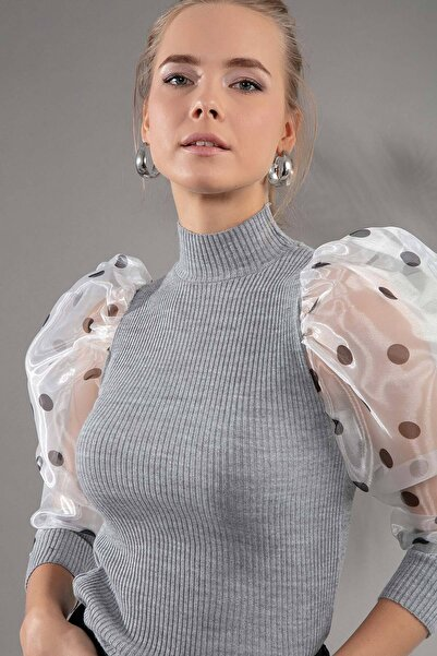Y-London Kadın Gri Balon Kol Puantiye Desen Balıkçı Triko Kazak 254 Y19W136-0254PUANTIYE