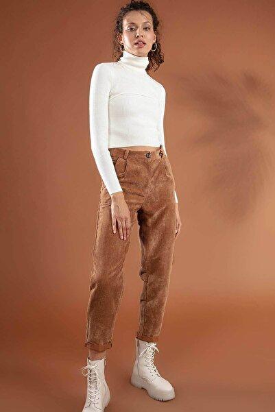 Y-London Kadın Camel Duble Paça Cepli Kadife Pantolon 10431 Y19W126-10431-1