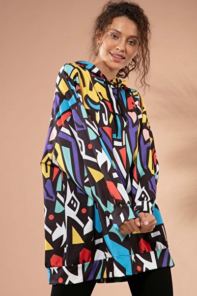 Y-London Kadın Siyah Grafik Desenli Kapşonlu Oversize Sweatshirt Y20W110-4125-28