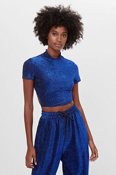 Bershka Kadın Koyu Mavi Bağcıklı Metalik T-shirt