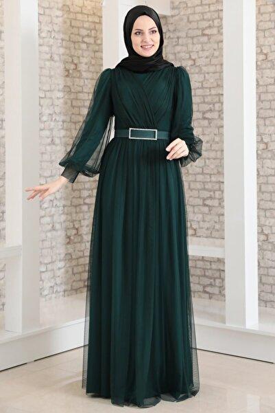 Fashion Showcase Kadın Petrol Yeşili Kemeri Taşlı Tül Detay Abiye   Fsc2020