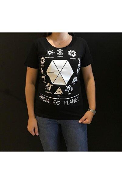 Panda Kadın Siyah From Exo Planet Baskılı T-shirt