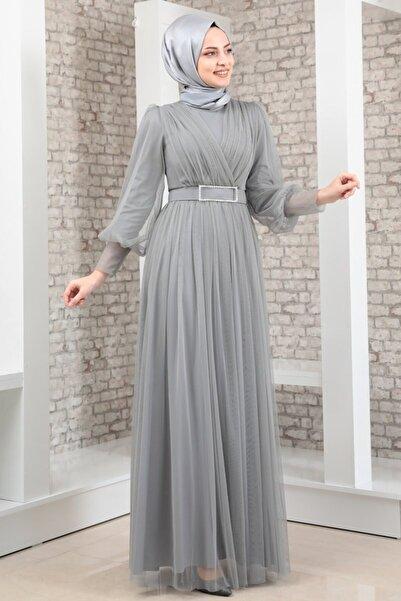 Fashion Showcase Kadın Kemeri Taşlı Tül Detay Abiye Gri - Fsc2020