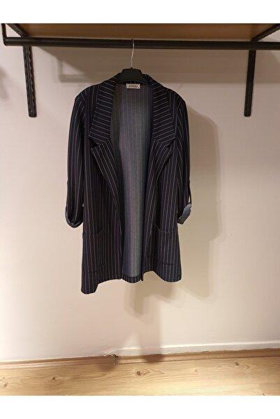 Y-London Kadın Lacivert Çizgili Blazer Ceket