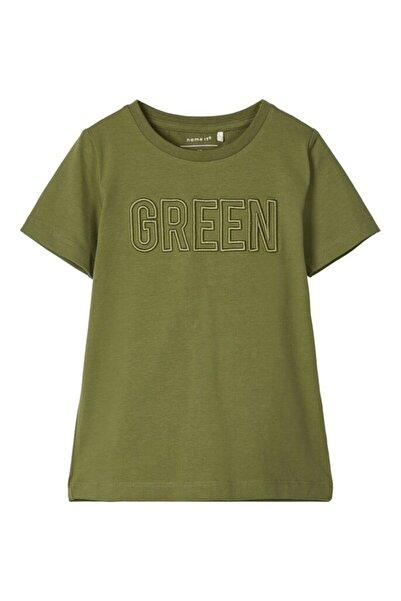 name ıt Kadın Yeşil Bisiklet Yaka İşlemeli T-shirt