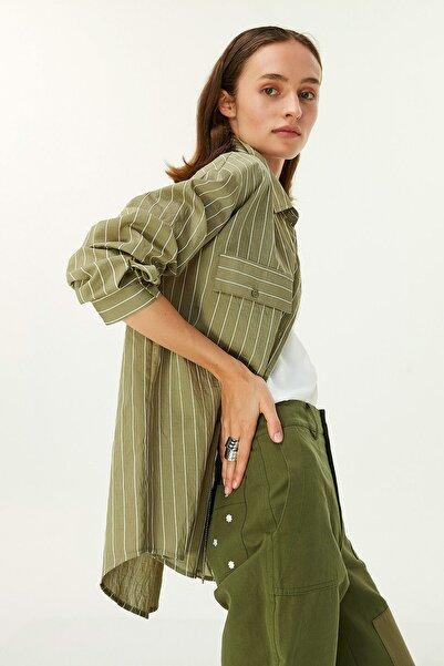 Twist Kadın Haki Çizgili Gömlek TW6200025079