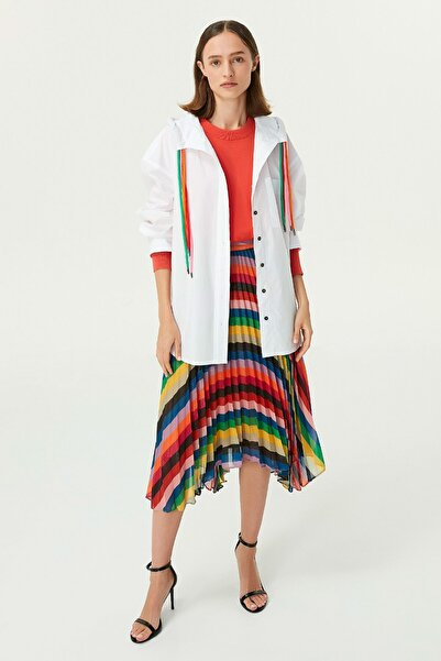Twist Kadın Beyaz Kapüşonlu Gömlek TW6200025071