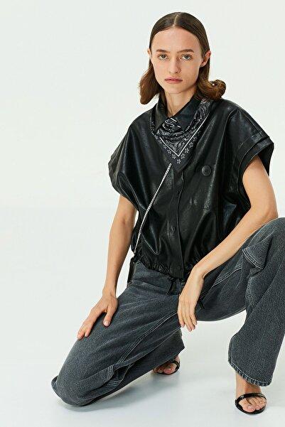 Twist Kadın Siyah Deri Form Gömlek TW6200025072