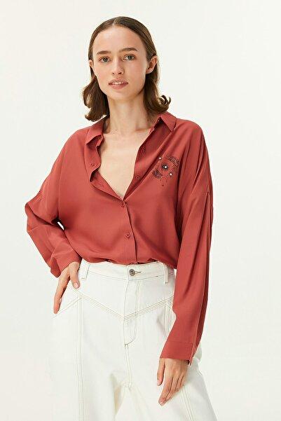 Twist Kadın Kırmızı Oversize Gömlek TW6200025083