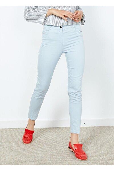 Adze Kadın Mavi Slim Fit Likralı Pantalon