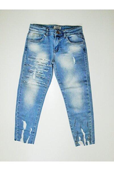 nk kids Kız Çocuk Bilek Desenli Kot Pantolon