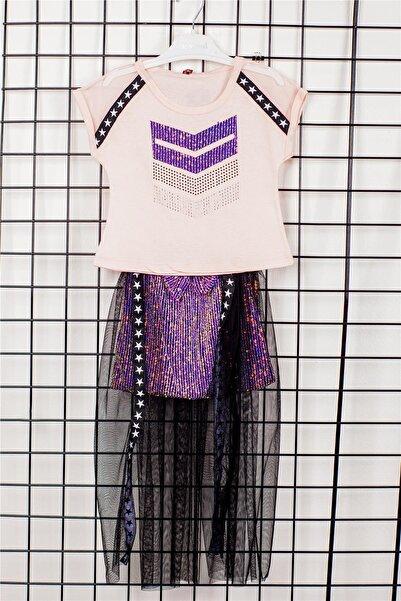 Max Bebek Kız Çocuk Mor Bellarose Zara Tüllü Etekli 2'li Alt Üst Takım