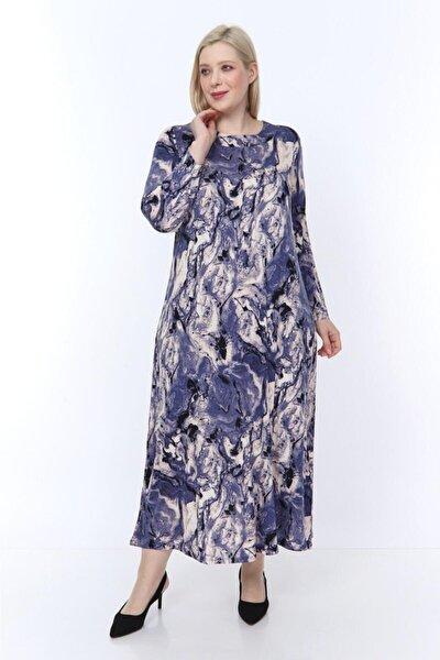 EMSAR BUTİK Kadın Lila Desenli Yaka Pervazlı Uzun Elbise