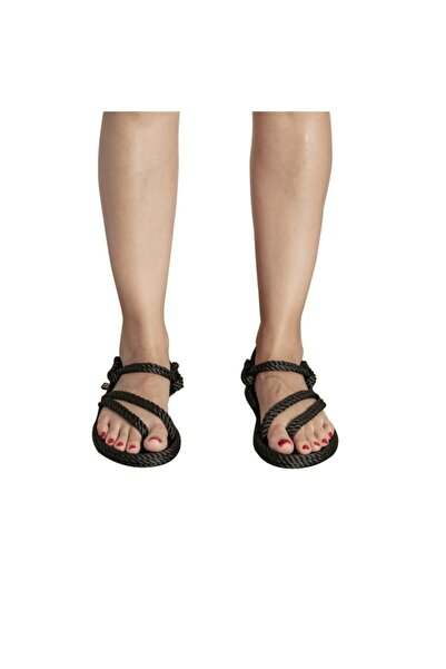 Nomadic Republic Cancun Kadın Halat & Ip Siyah Sandalet