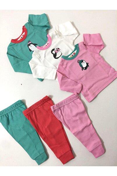 Abentiny Kız Bebek Yeşil Kırmızı Pembe 6 Parça Kombin Set Takım
