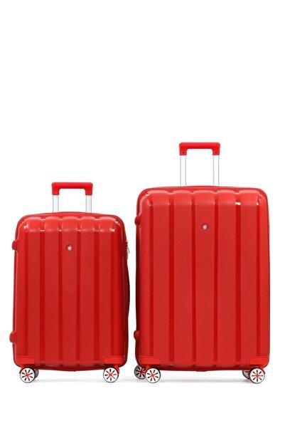 CENGİZ PAKEL Kırmızı Policarbon 2li Valiz Seti 20305-bo-kırmızı