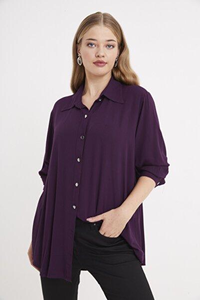 For Big Trend Kadın Gümüs Dügmeli Gömlek
