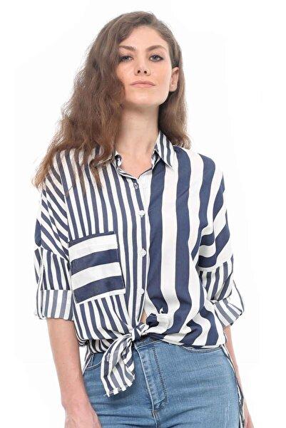 Cazador Cdr 1734 Çizgili Uzun Gömlek Mavı
