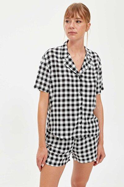 DeFacto Fit Kadın Black Red Kareli Gömlek Tasarımlı Pijama Takımı S2070AZ20AU