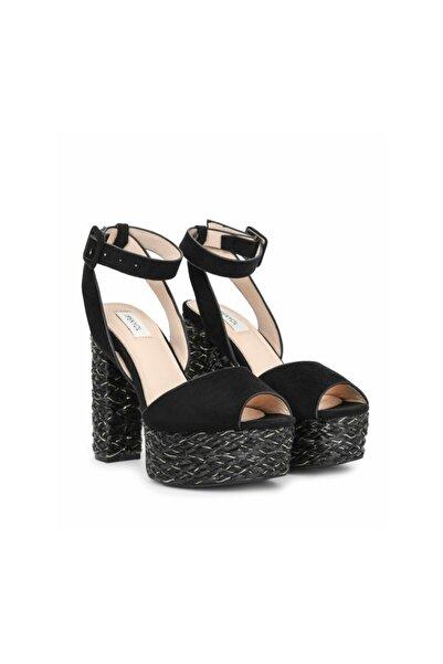 İpekyol Kadın Siyah Hasır Örme Topuklu Sandalet