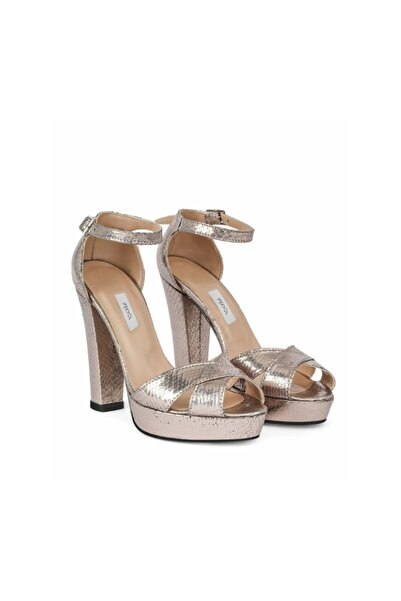 İpekyol Kadın Metalik Kroko Baskı Topuklu Sandalet