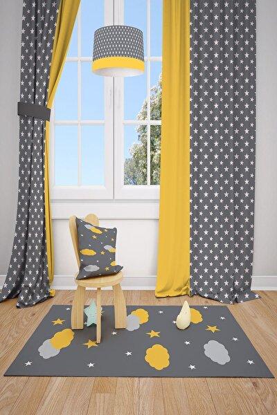 MEKTA HOME Sarı Desenli Çocuk ve Bebek Odası Fon Perde 2 Kanat 140x220 cm Mkt-101