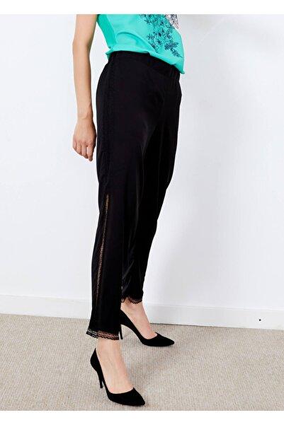 Adze Kadın Siyah Yan Dantel Detaylı Pantalon Xxl