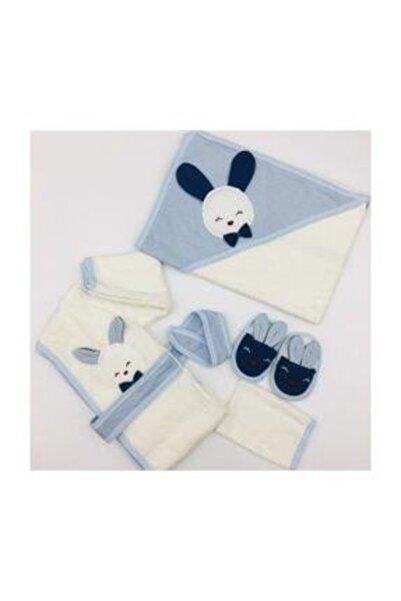 Gaye Erkek Bebek Havlu Bornoz Seti 826 Bebek Doğum Hediyesi Banyo Takımı Baby Gift