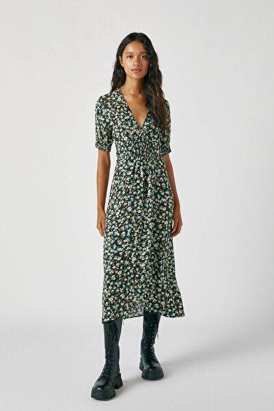 Pull & Bear Kadın Sarı Büzgülü Desenli Midi Elbise 09391360