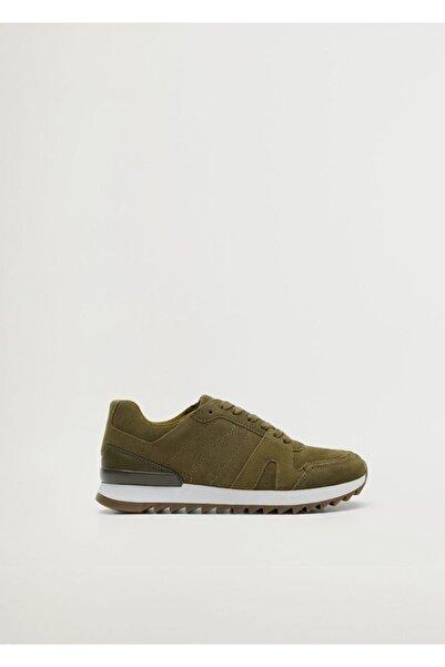 Violeta by MANGO Kadın Yeşil Bağcıklı Deri Spor Ayakkabı