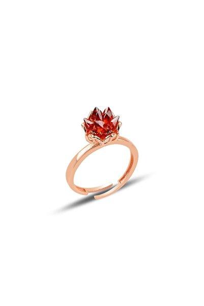 SBGOLDSILVER Gümüş Lotus Çiçeği Modeli Kırmızı Taşlı Yüzük