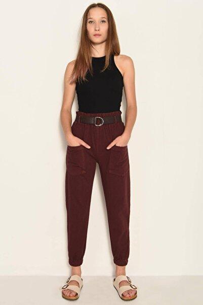 Addax Kadın Bordo Cep Detaylı Pantolon PN4139 - PND ADX-0000020330