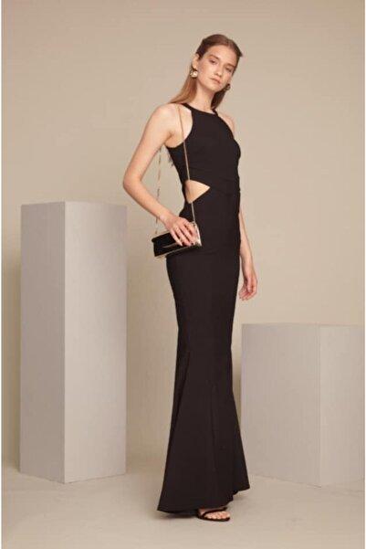 Keikei Kadın Siyah Krep Balık Abiye Elbise