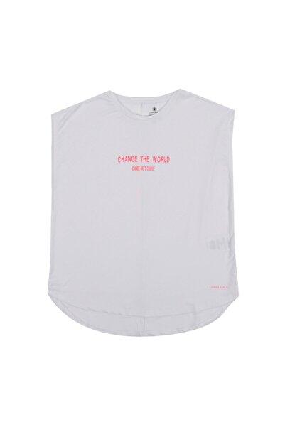 lumberjack Kadın Beyaz Fuşya Kalına T-shirt