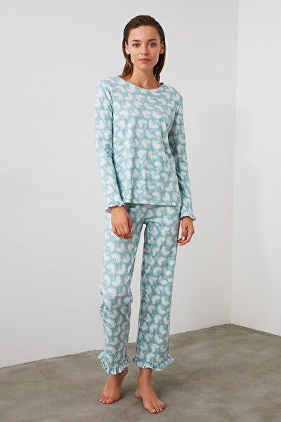 TRENDYOLMİLLA Mint Baskılı Örme Pijama Takımı THMAW21PT0247