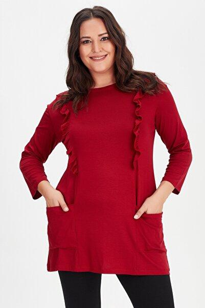 Moda Cazibe Büyük Beden Göğüs Fırfır Detaylı Cepli Tunik