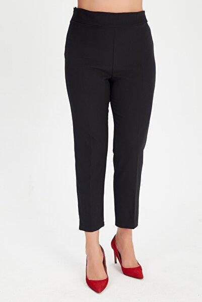 Moda Cazibe Kadın Siyah Büyük Beden Yüksek Bel Geniş Basen Likralı Atlas Pantolon