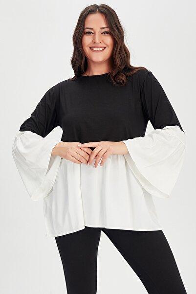 Moda Cazibe Kadın Siyah Krem İspanyol Kol Poplin Tunik