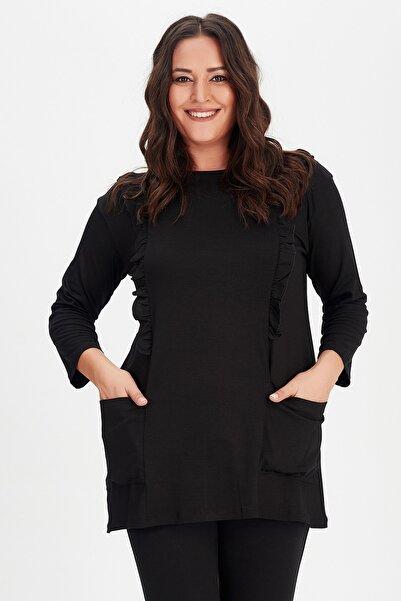 Moda Cazibe Kadın Siyah Büyük Beden Göğüs Fırfır Detaylı Cepli Tunik