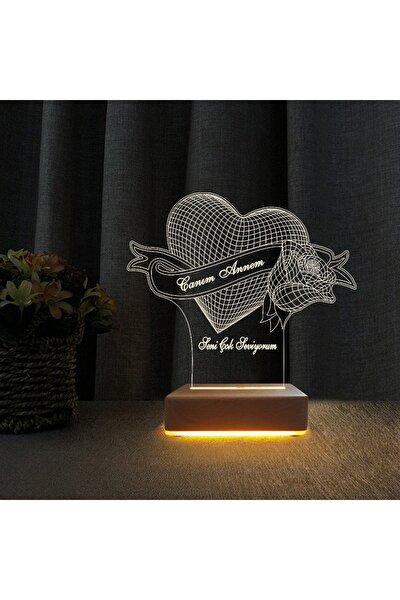 Vipyol Anneler Günü Hediyesi Kalp Gül Gece Lambası Seni Seviyorum Yazılı Lamba