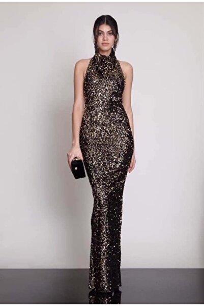 Keikei Kadın Gold Pul Payet Sırt Detay Abiye Elbise