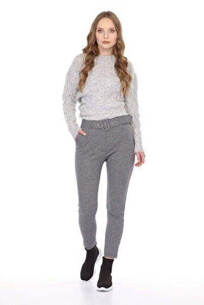Kadın Bel Kemerli Ekose Pantolon