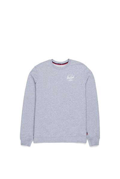 Herschel Supply Co. Erkek Gri l Crewneck Classic Logo Heather  Sweatshirt