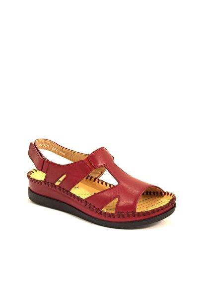 Forelli Kadın Bordo Deri Sandalet 22510