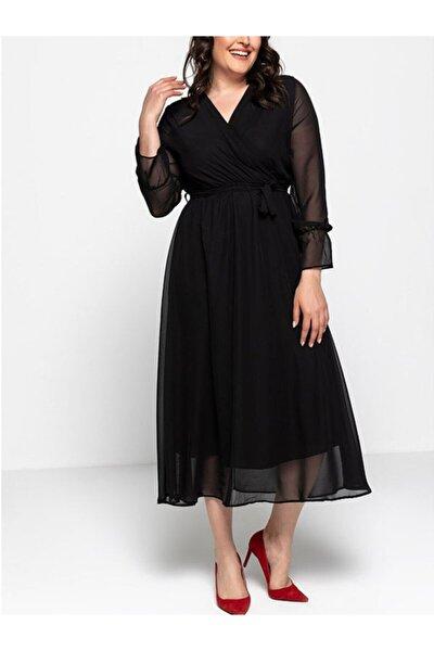Elbise Delisi Kadın Siyah Uzun Kruvaze Yaka Şifon Büyük Beden Elbise