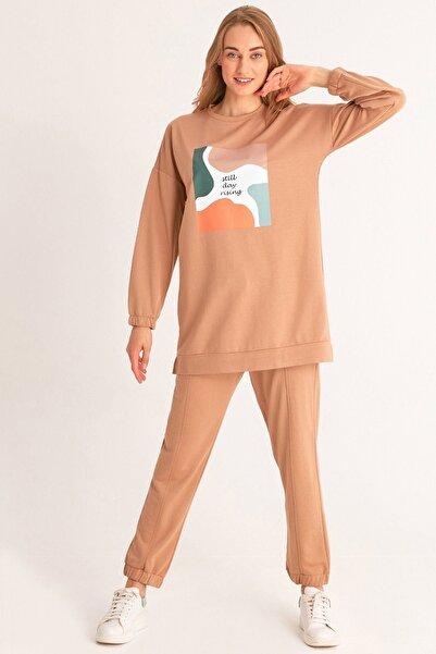 Fulla Moda Kadın Camel Baskılı Eşofman Takımı