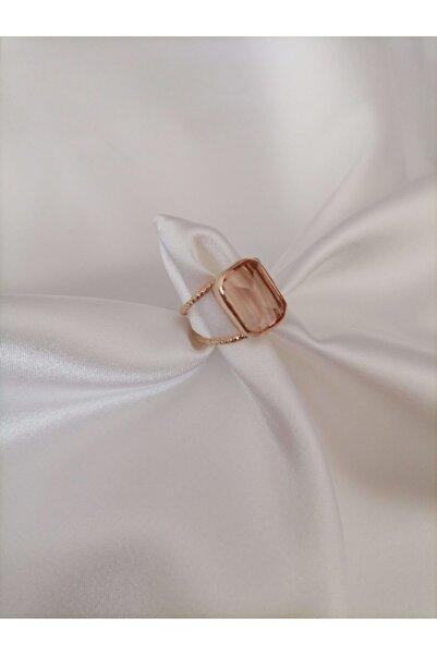 Simaria Takı 925 Ayar Gümüş Doğal Taş Rose Yüzük
