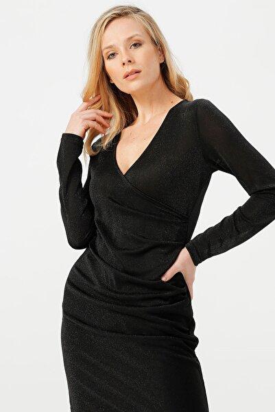 Vero Moda Kadın Siyah Parıltılı Kruvaze Yaka Elbise MDENISE